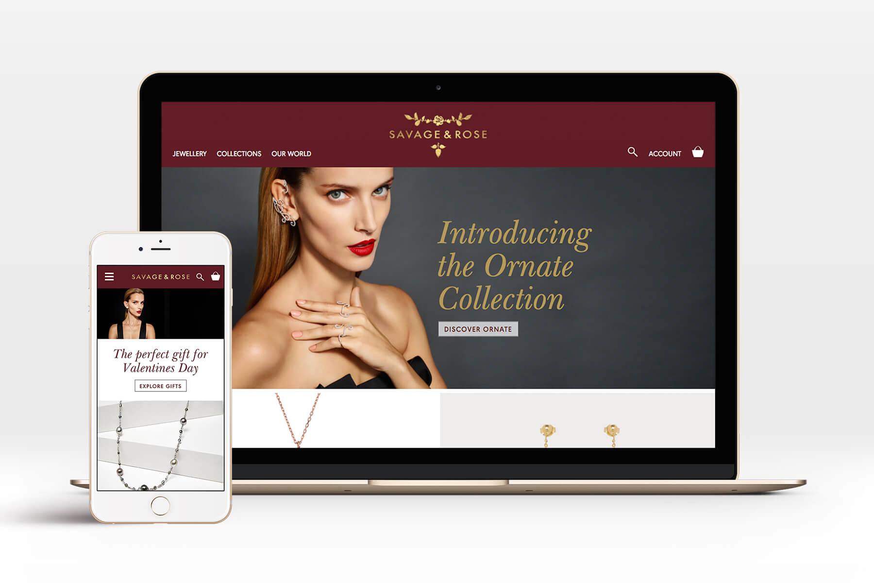 Savage and Rose new jewellery branding, packaging and website
