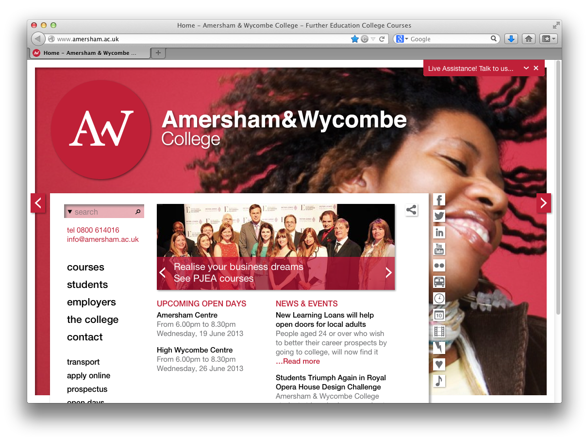 Amersham & Wycombe College website